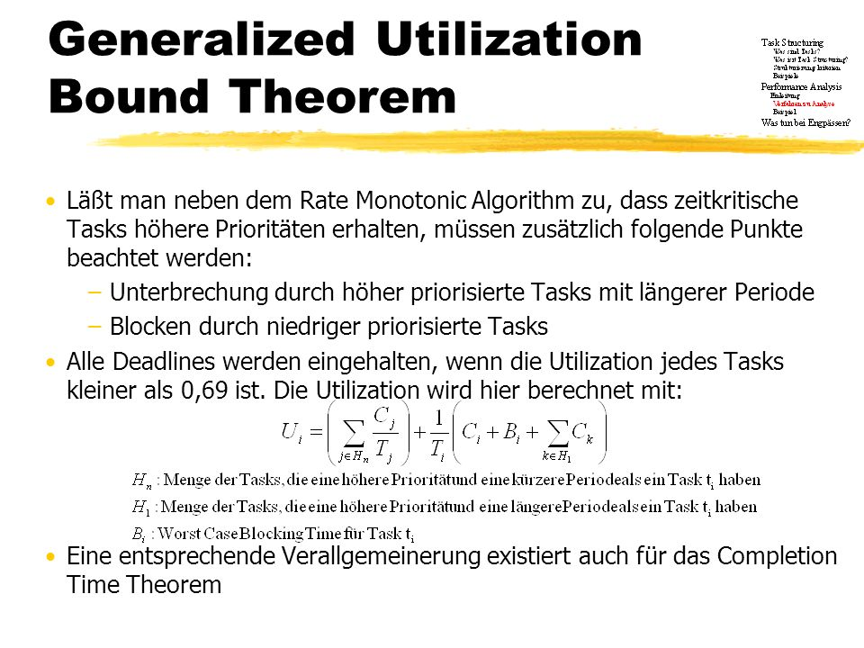 Generalized Utilization Bound Theorem