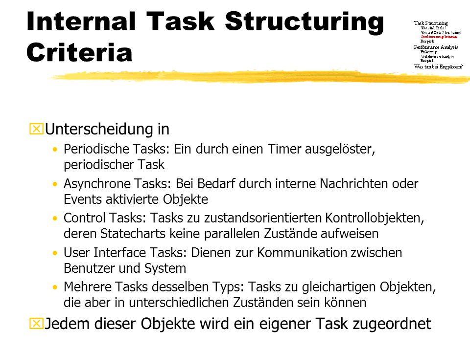 Internal Task Structuring Criteria