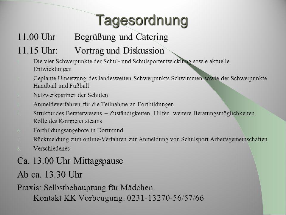 Tagesordnung 11.00 Uhr Begrüßung und Catering