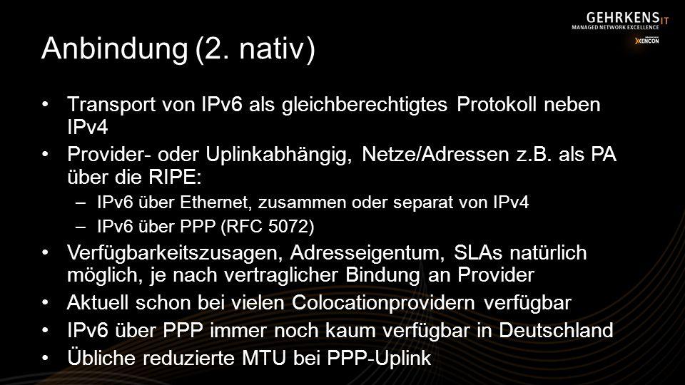 Anbindung (2. nativ) Transport von IPv6 als gleichberechtigtes Protokoll neben IPv4.