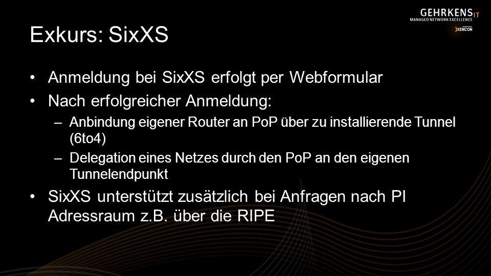 Exkurs: SixXS Anmeldung bei SixXS erfolgt per Webformular