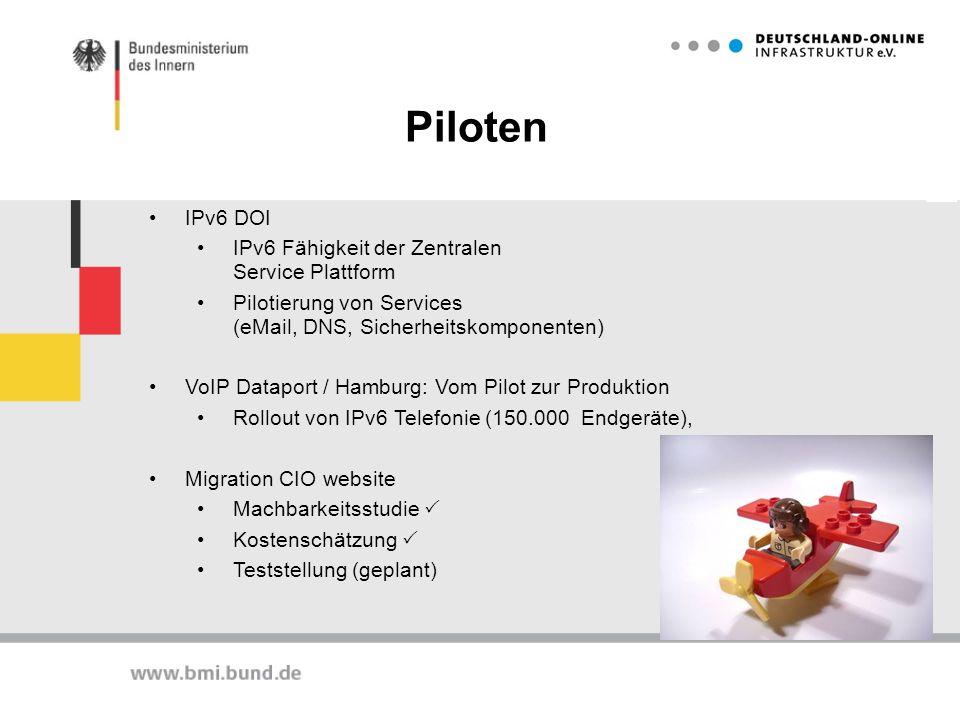 Piloten IPv6 DOI IPv6 Fähigkeit der Zentralen Service Plattform