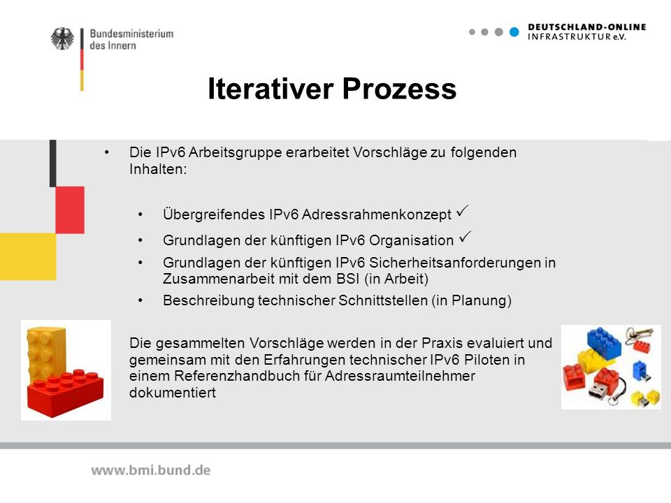 Iterativer Prozess Die IPv6 Arbeitsgruppe erarbeitet Vorschläge zu folgenden Inhalten: Übergreifendes IPv6 Adressrahmenkonzept P.