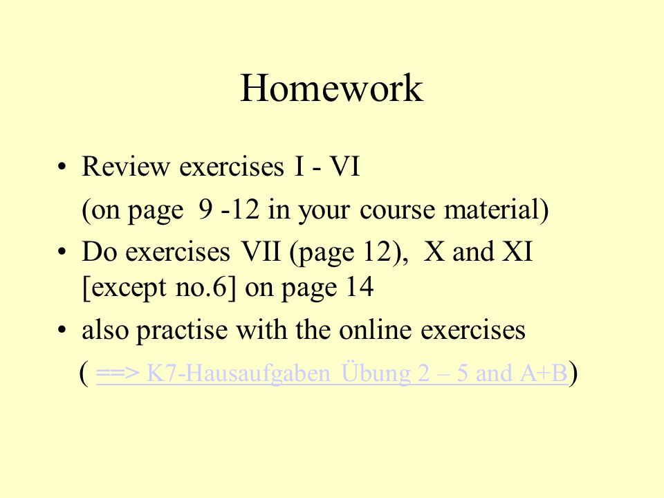 Homework Review exercises I - VI