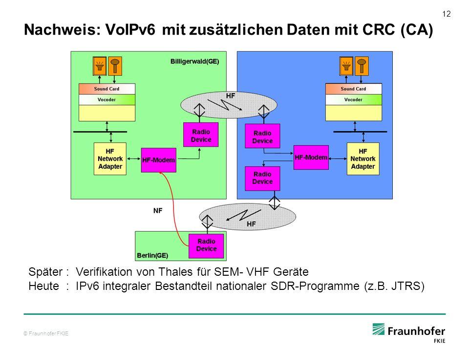 Nachweis: VoIPv6 mit zusätzlichen Daten mit CRC (CA)