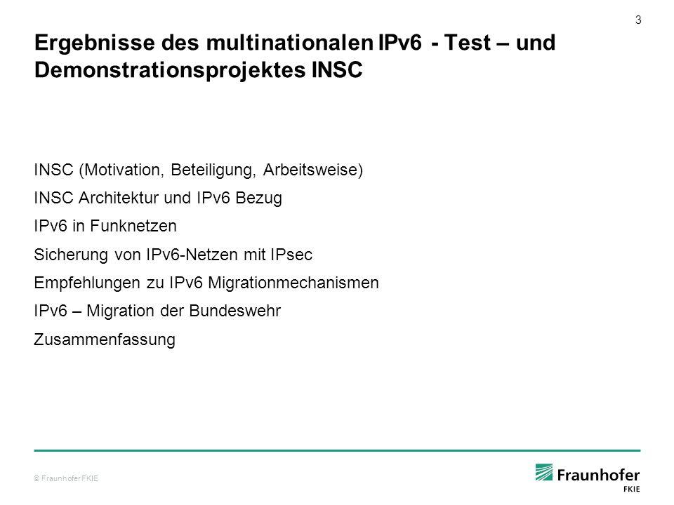 Ergebnisse des multinationalen IPv6 - Test – und Demonstrationsprojektes INSC
