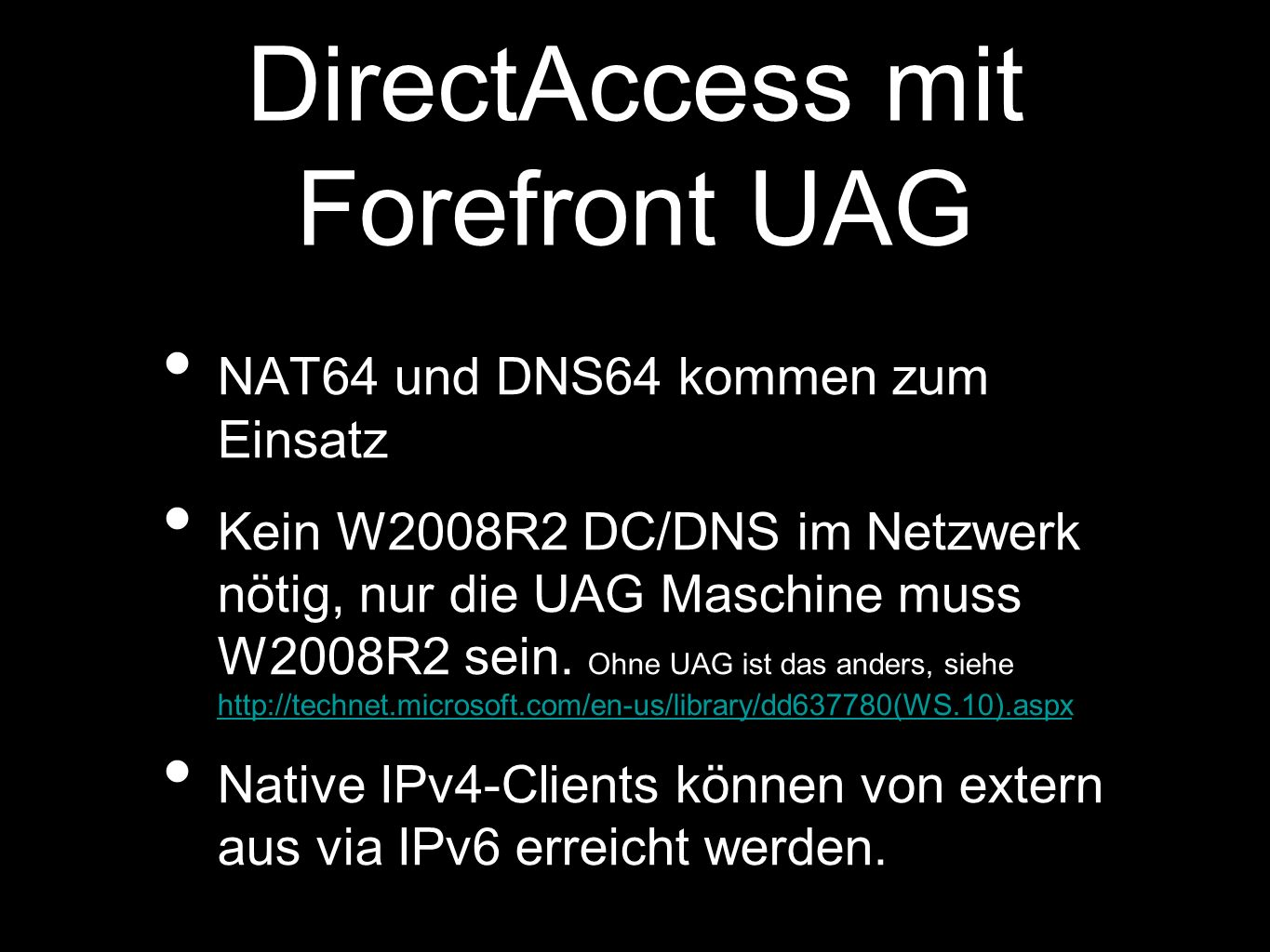 DirectAccess mit Forefront UAG