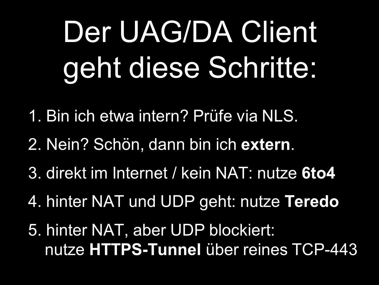 Der UAG/DA Client geht diese Schritte:
