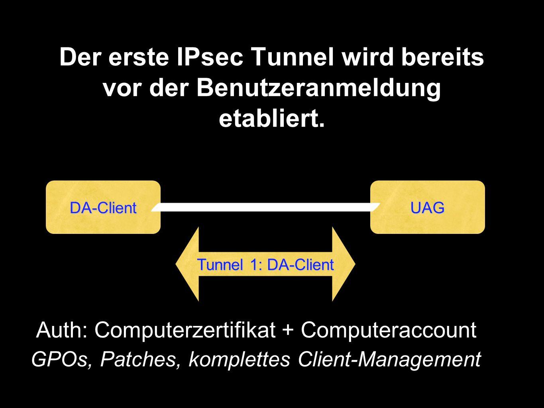 Der erste IPsec Tunnel wird bereits vor der Benutzeranmeldung etabliert.