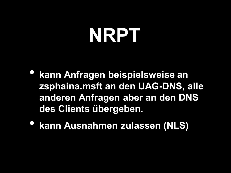 NRPT kann Anfragen beispielsweise an zsphaina.msft an den UAG-DNS, alle anderen Anfragen aber an den DNS des Clients übergeben.