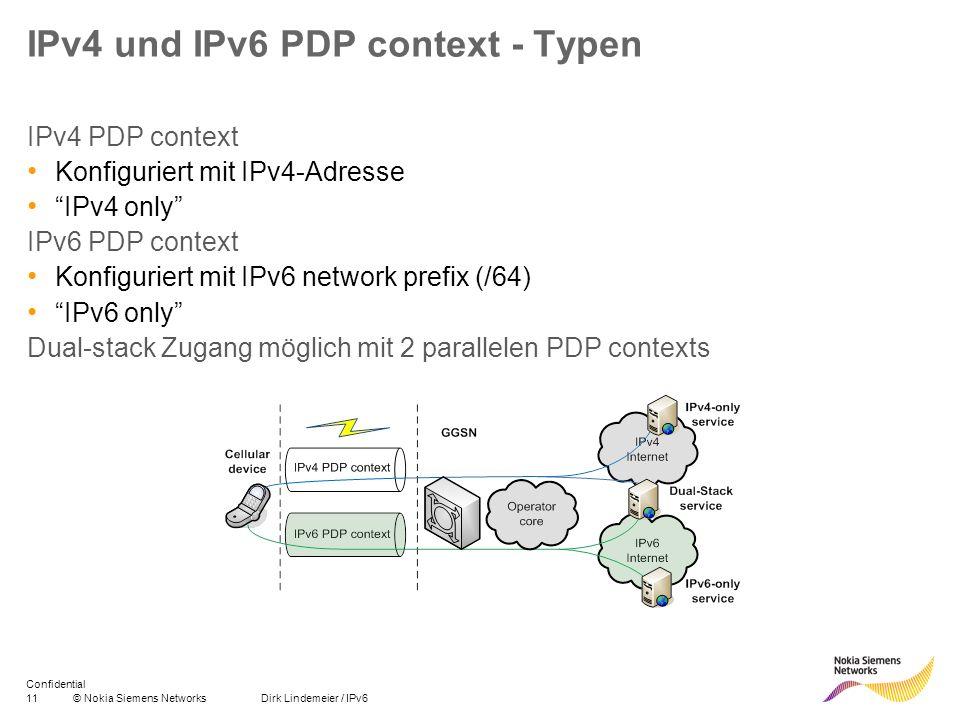 IPv4 und IPv6 PDP context - Typen