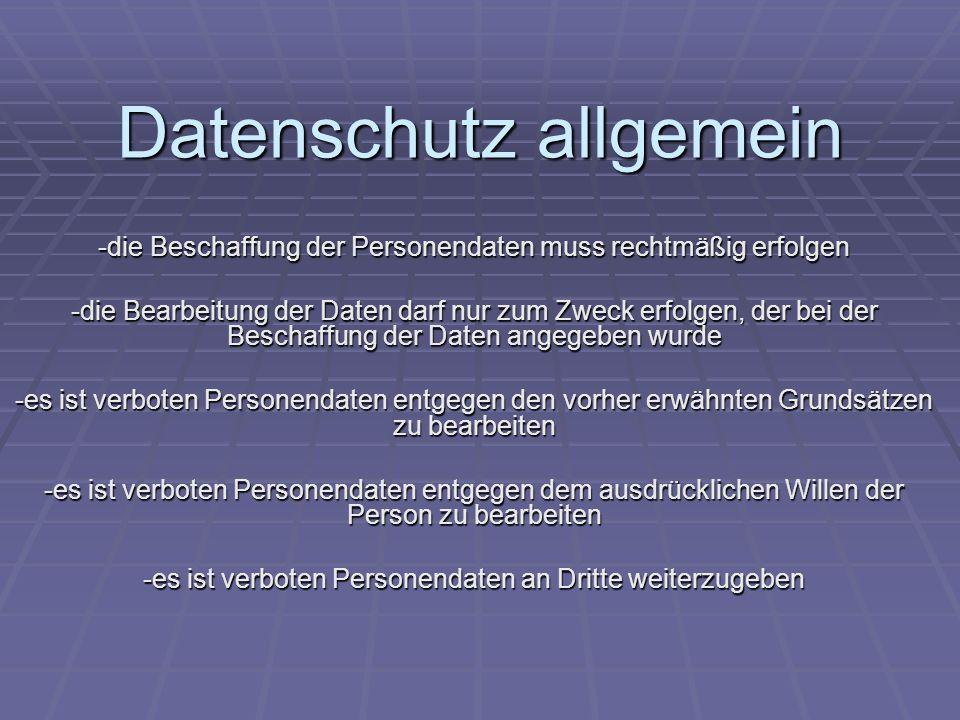 Datenschutz allgemein