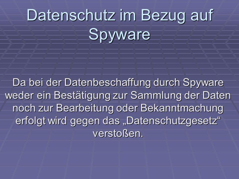 Datenschutz im Bezug auf Spyware
