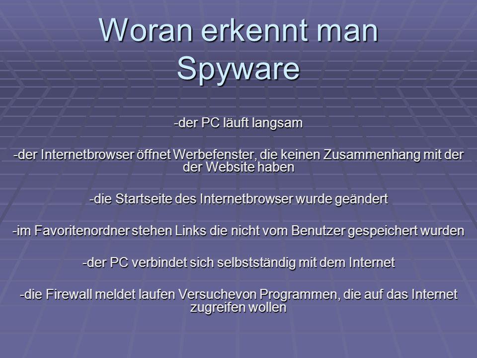 Woran erkennt man Spyware