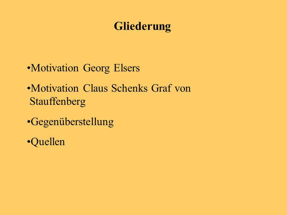 Gliederung Motivation Georg Elsers