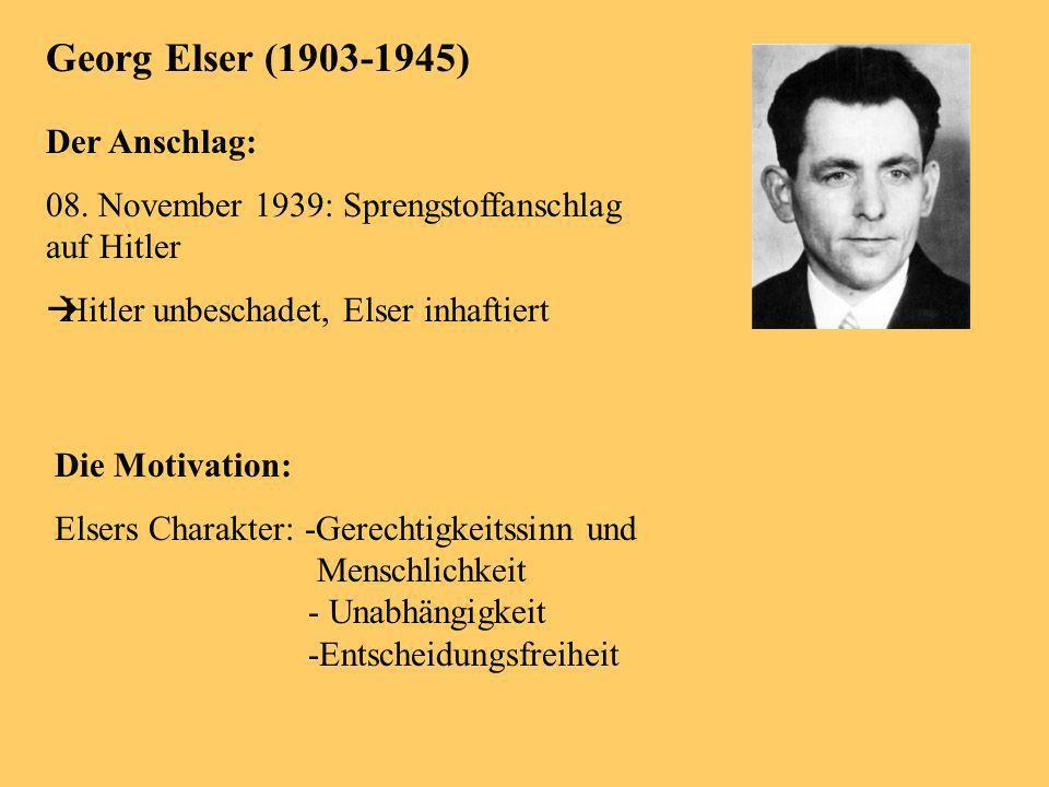 Georg Elser (1903-1945) Der Anschlag: