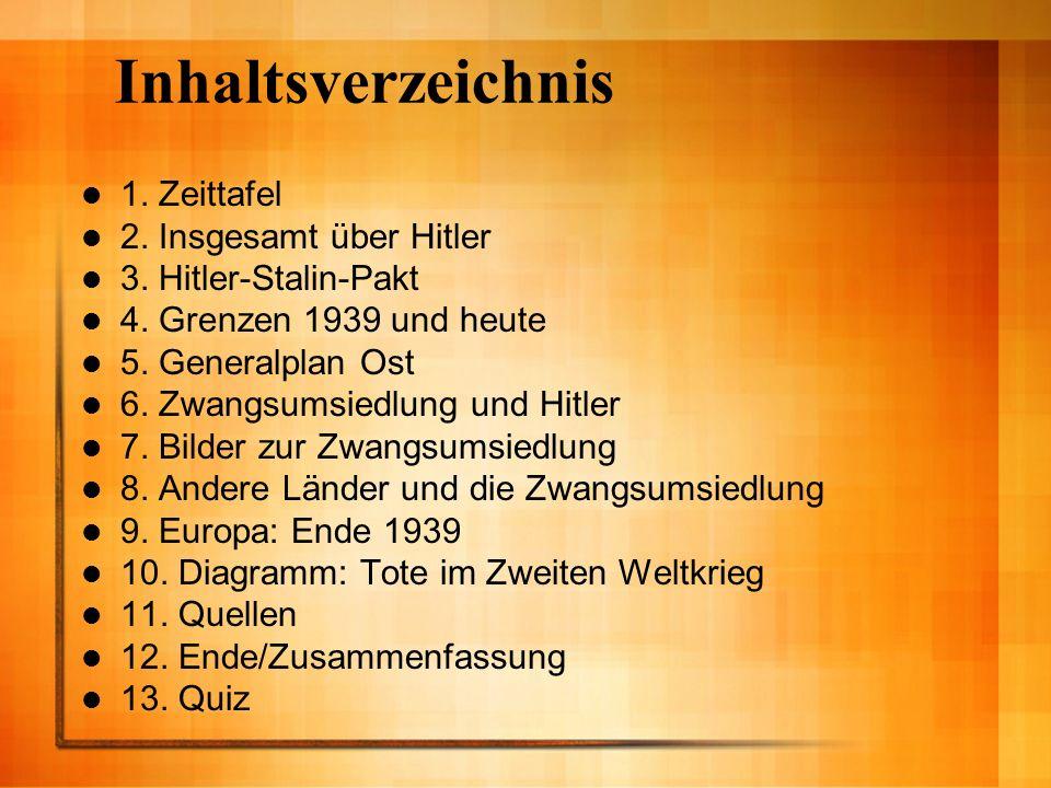 Inhaltsverzeichnis 1. Zeittafel 2. Insgesamt über Hitler