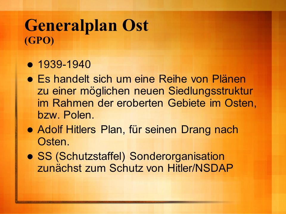Generalplan Ost (GPO) 1939-1940