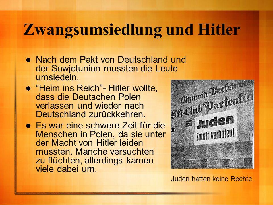 Zwangsumsiedlung und Hitler