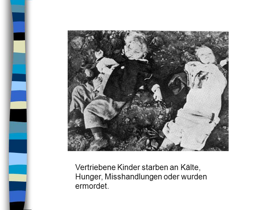 Vertriebene Kinder starben an Kälte, Hunger, Misshandlungen oder wurden ermordet.