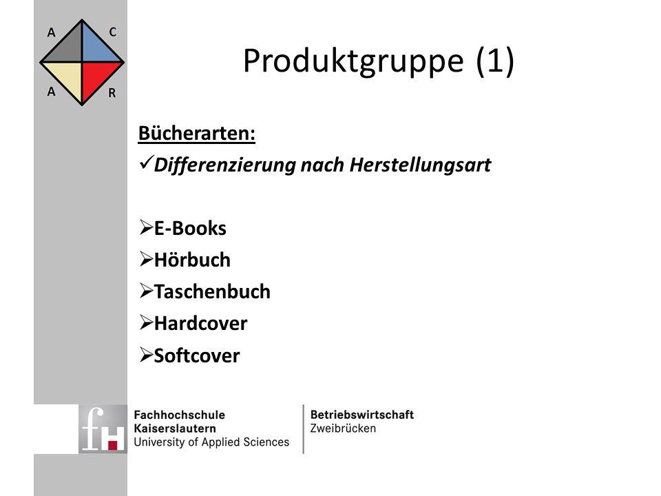 Produktgruppe (1) Bücherarten: Differenzierung nach Herstellungsart
