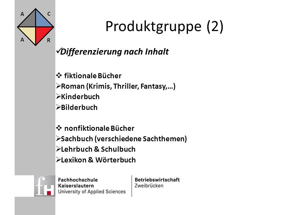 Produktgruppe (2) Differenzierung nach Inhalt fiktionale Bücher