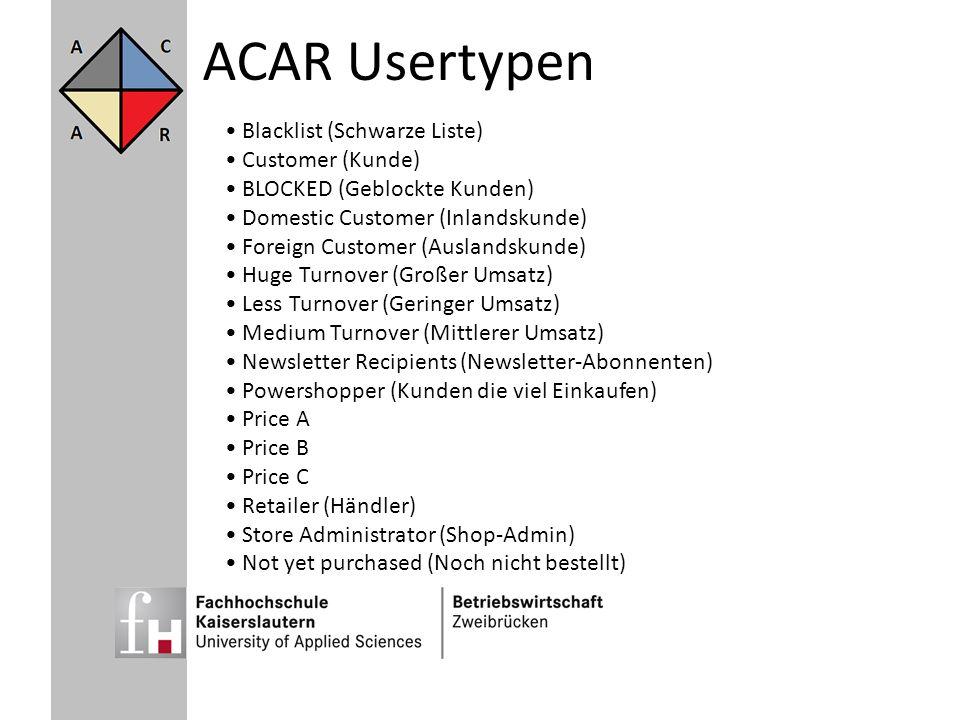 ACAR Usertypen Blacklist (Schwarze Liste) Customer (Kunde)
