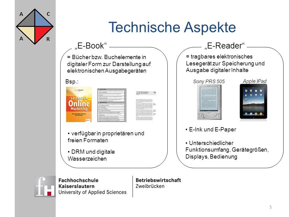 """Technische Aspekte """"E-Book """"E-Reader"""