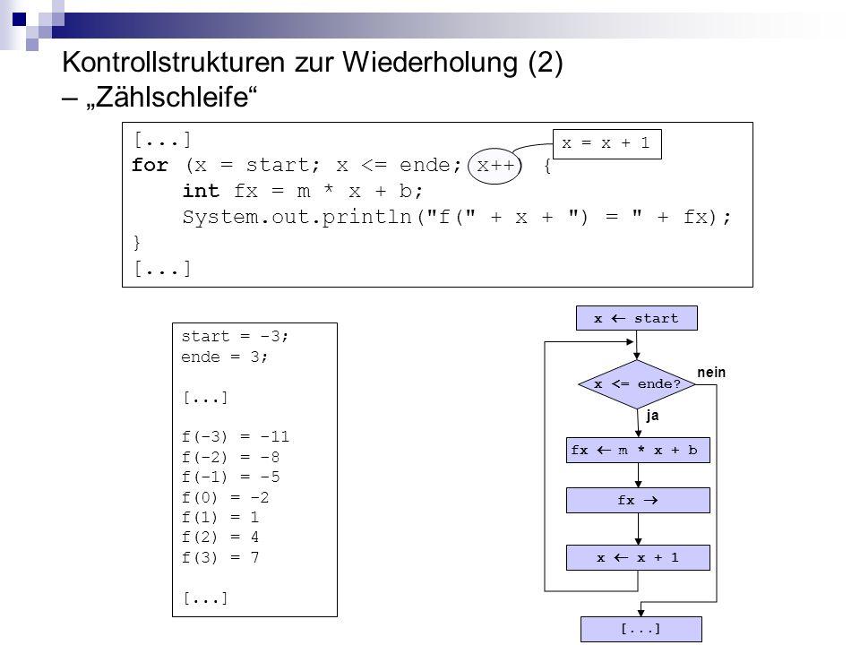 """Kontrollstrukturen zur Wiederholung (2) – """"Zählschleife"""