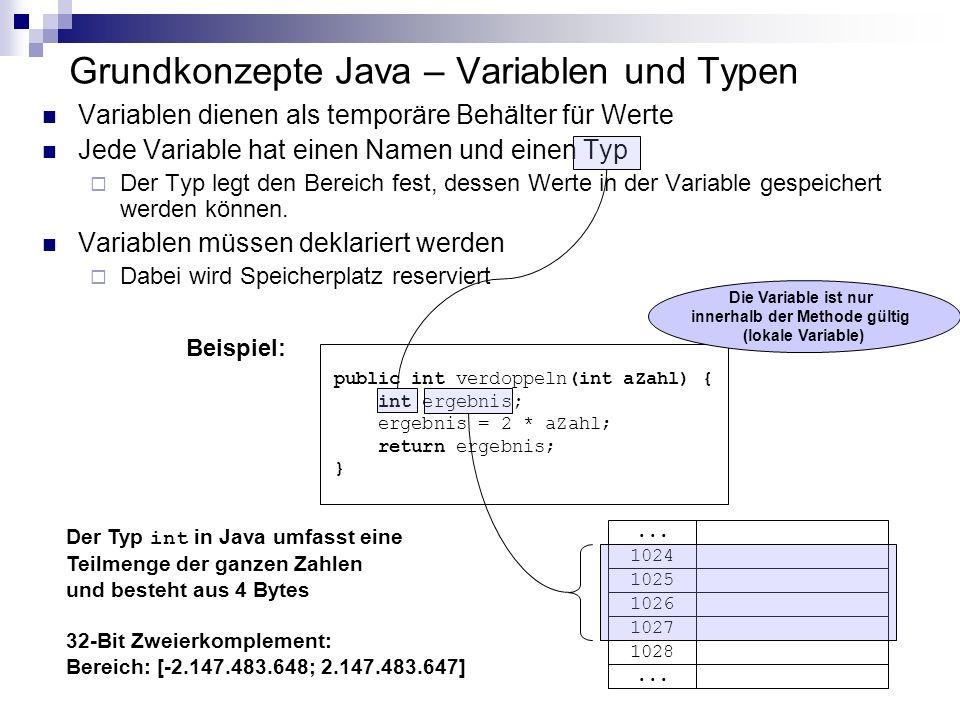 Grundkonzepte Java – Variablen und Typen