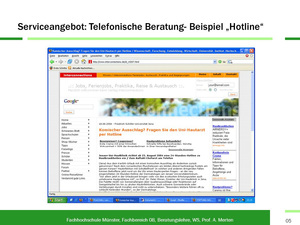 "Serviceangebot: Telefonische Beratung- Beispiel ""Hotline"