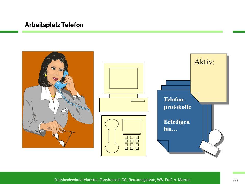 Aktiv: Arbeitsplatz Telefon Telefon-protokolle Erledigen bis…