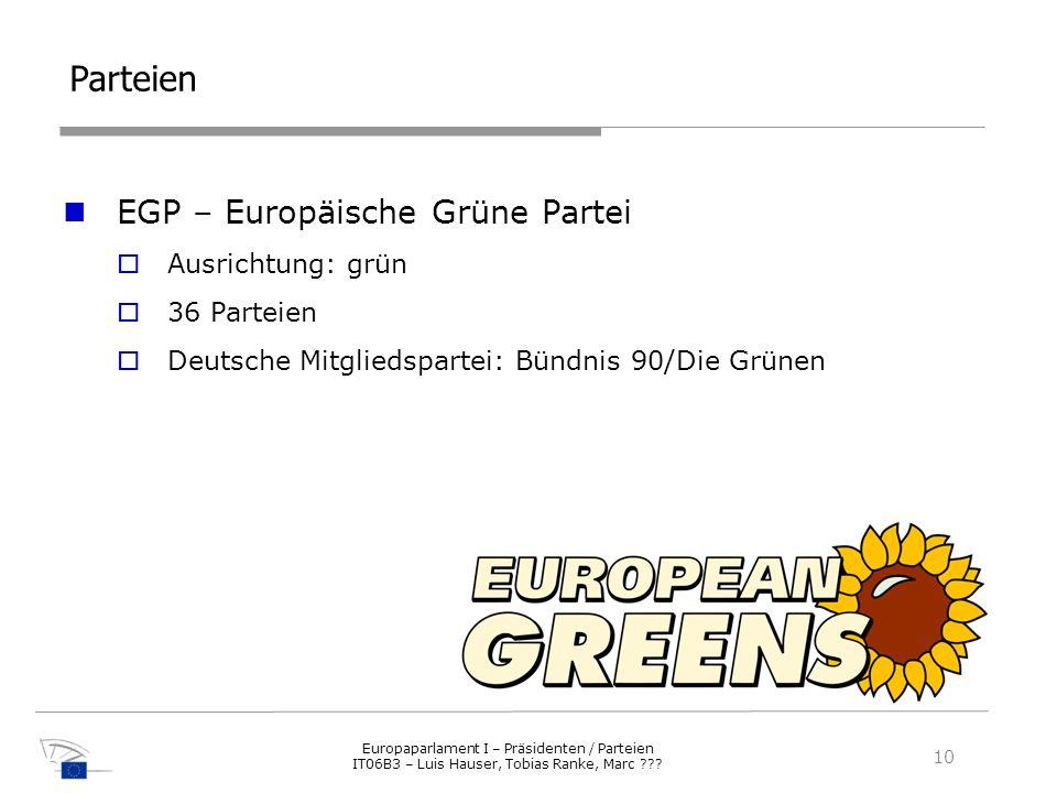 Parteien EGP – Europäische Grüne Partei Ausrichtung: grün 36 Parteien