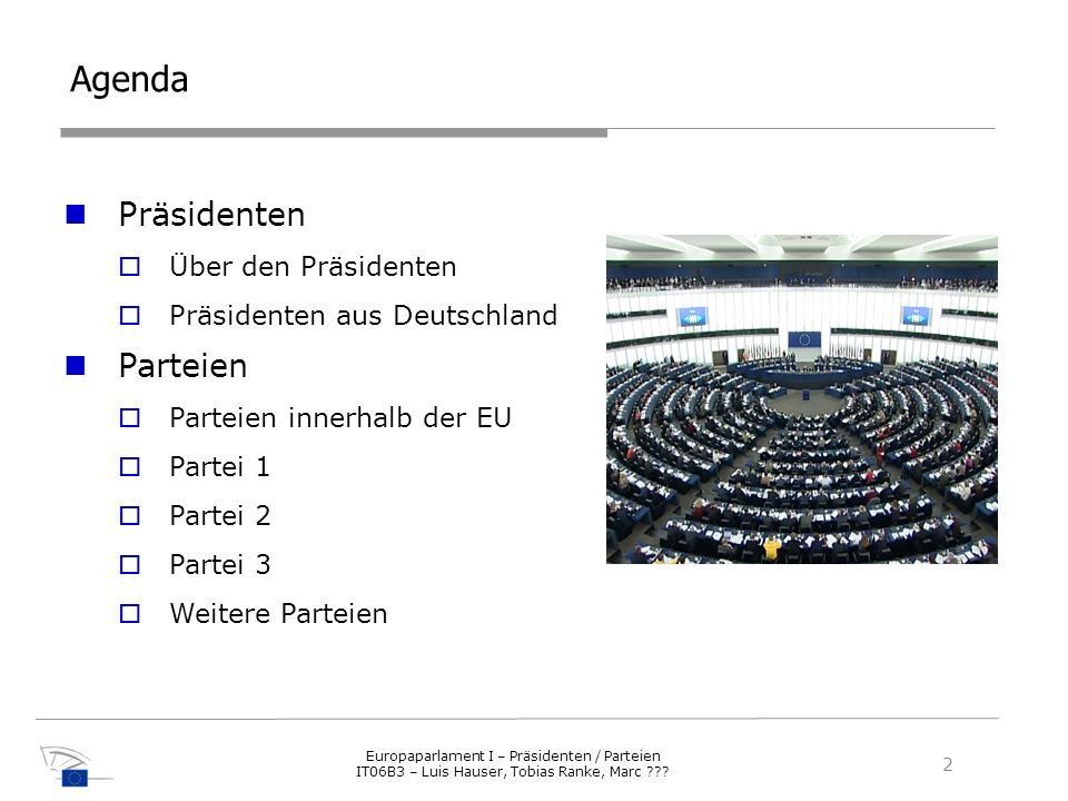 Agenda Präsidenten Parteien Über den Präsidenten