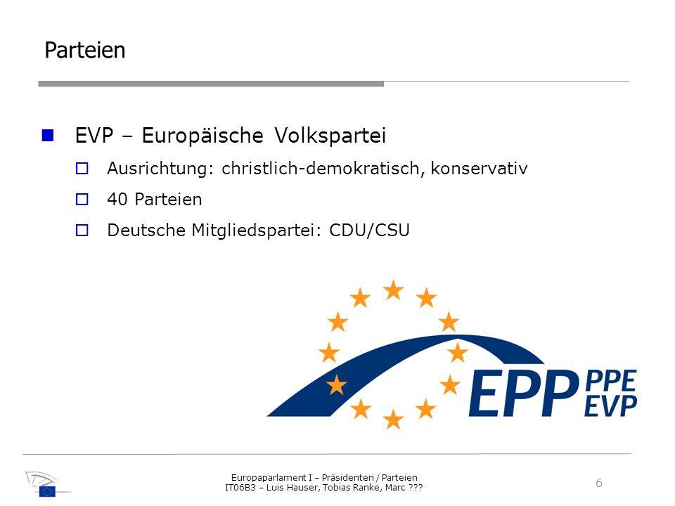 Parteien EVP – Europäische Volkspartei