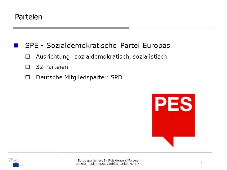 Parteien SPE - Sozialdemokratische Partei Europas