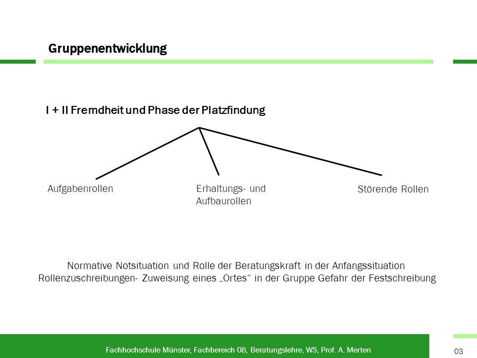 Gruppenentwicklung I + II Fremdheit und Phase der Platzfindung