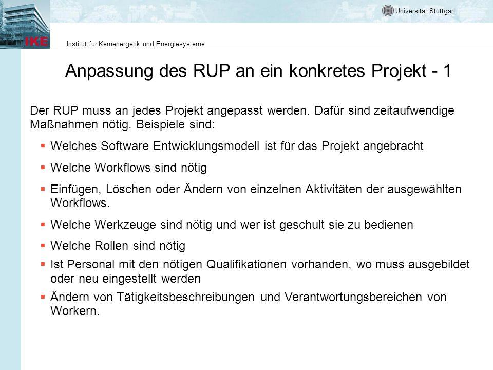 Anpassung des RUP an ein konkretes Projekt - 1