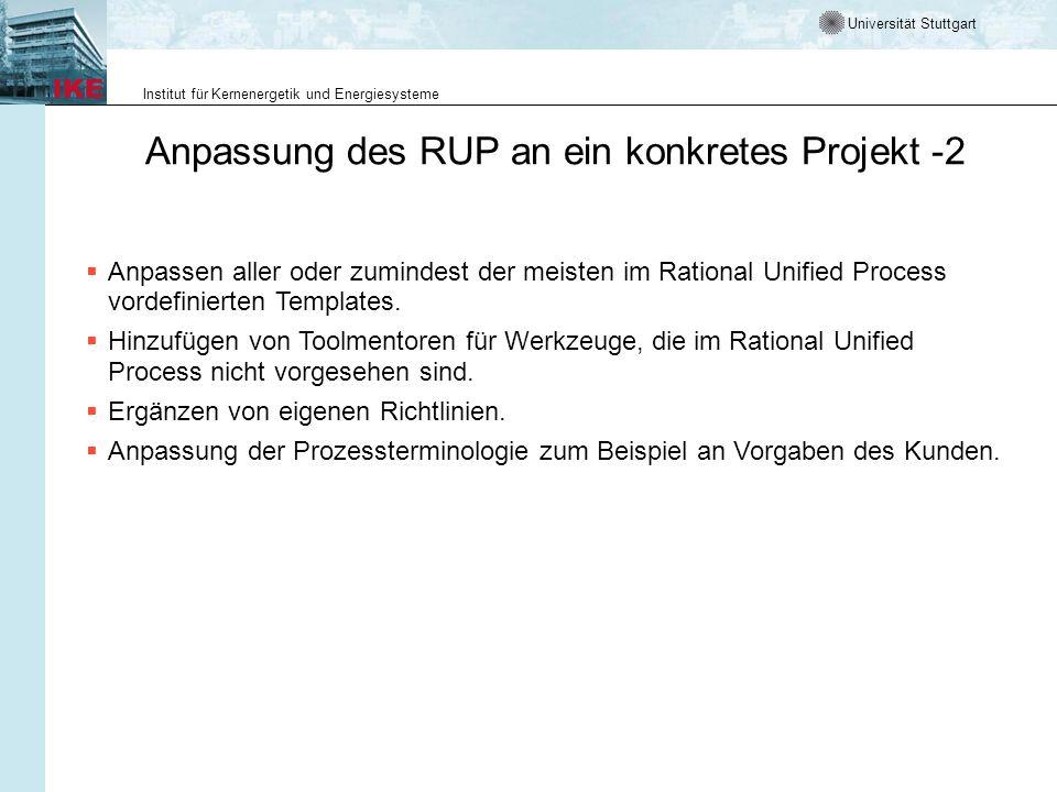 Anpassung des RUP an ein konkretes Projekt -2