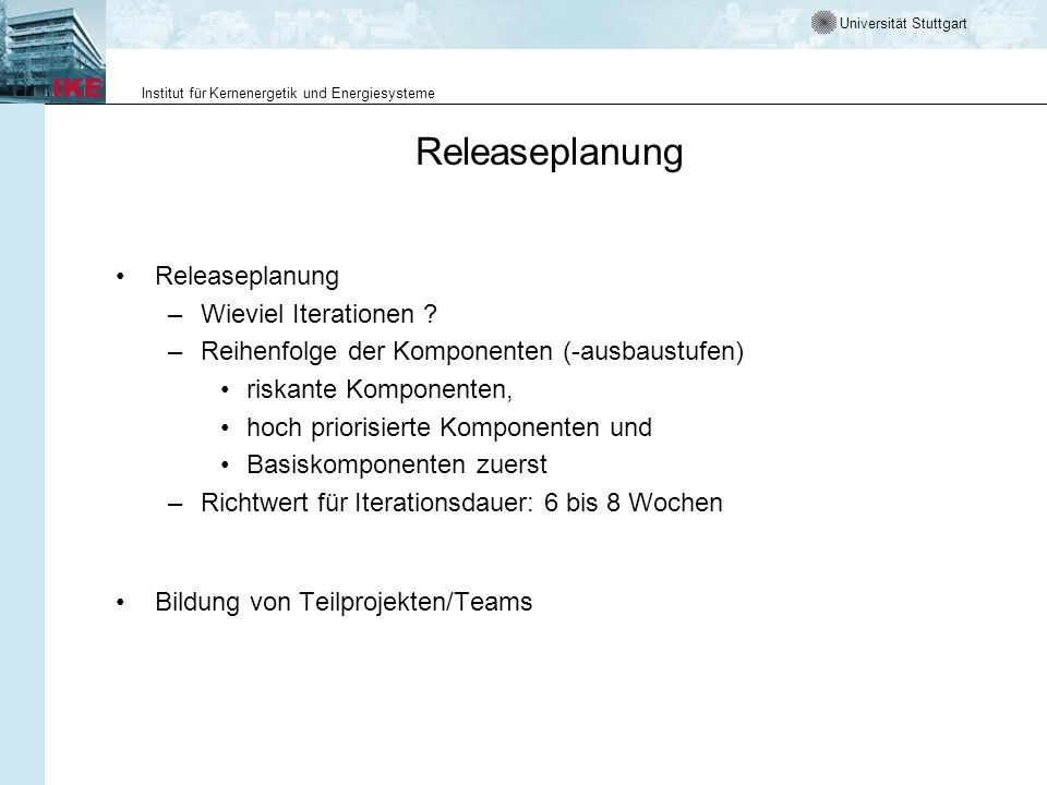 Releaseplanung Releaseplanung Wieviel Iterationen