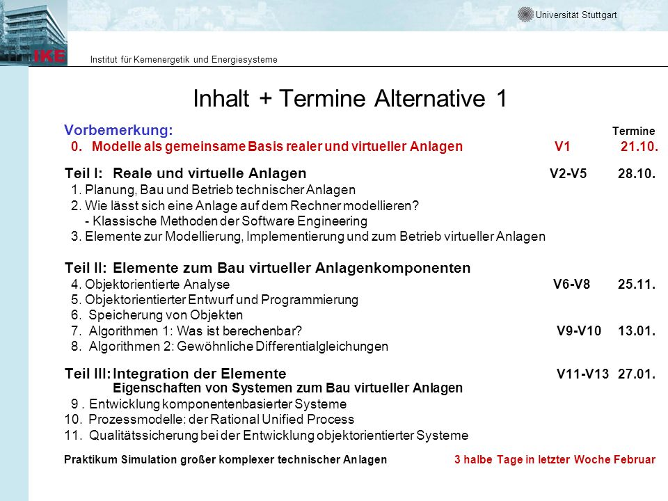 Inhalt + Termine Alternative 1