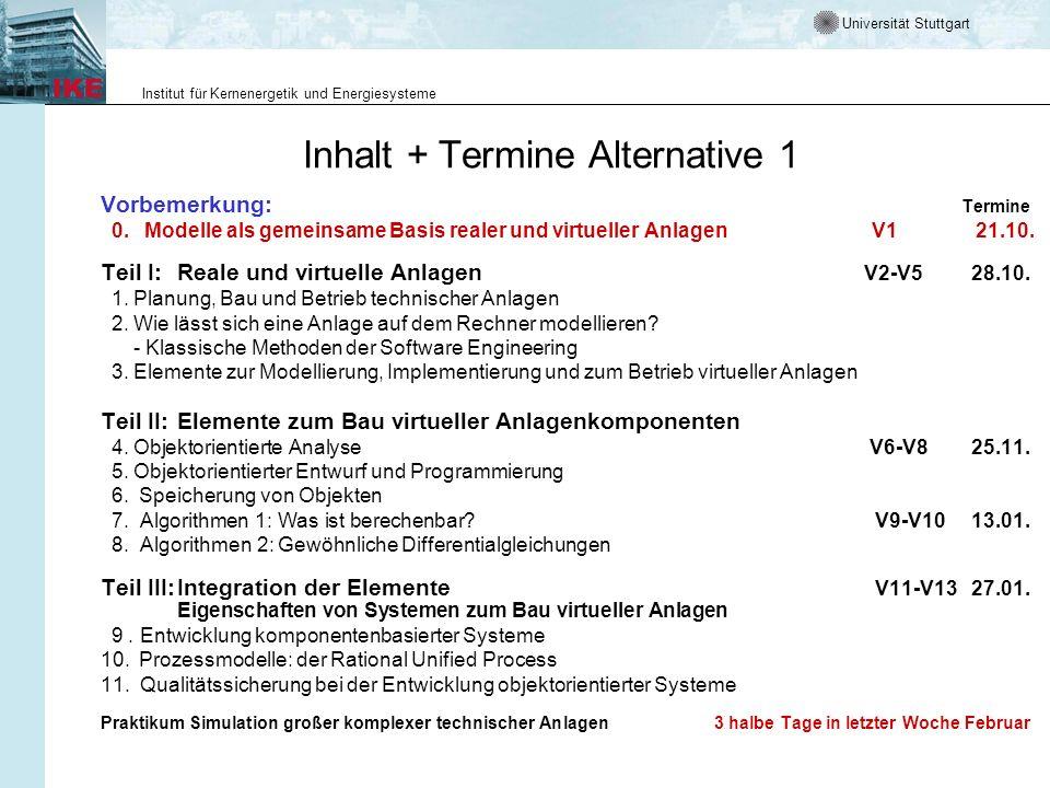 Inhalt + Termine Alternative 1
