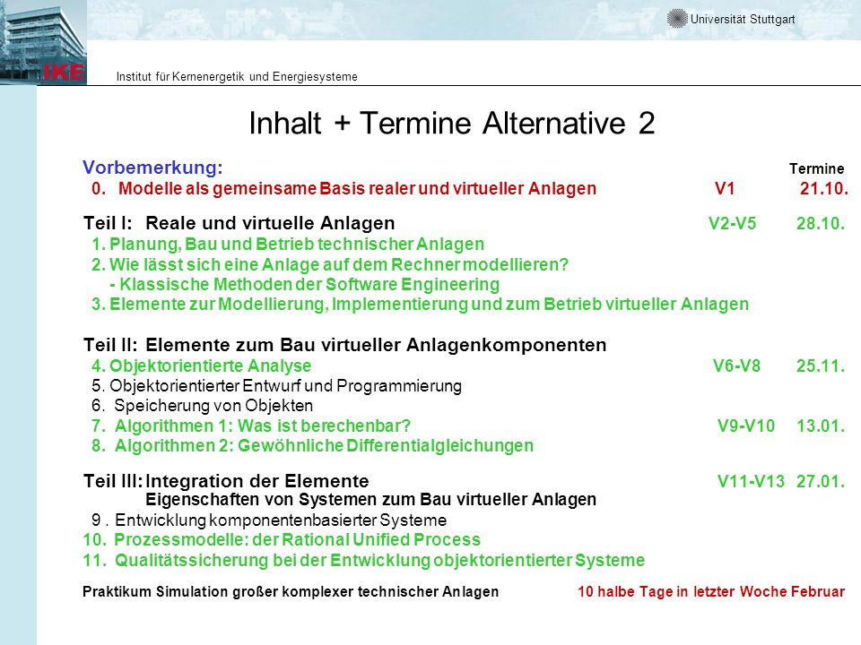 Inhalt + Termine Alternative 2