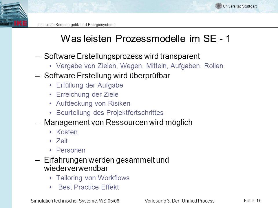 Was leisten Prozessmodelle im SE - 1