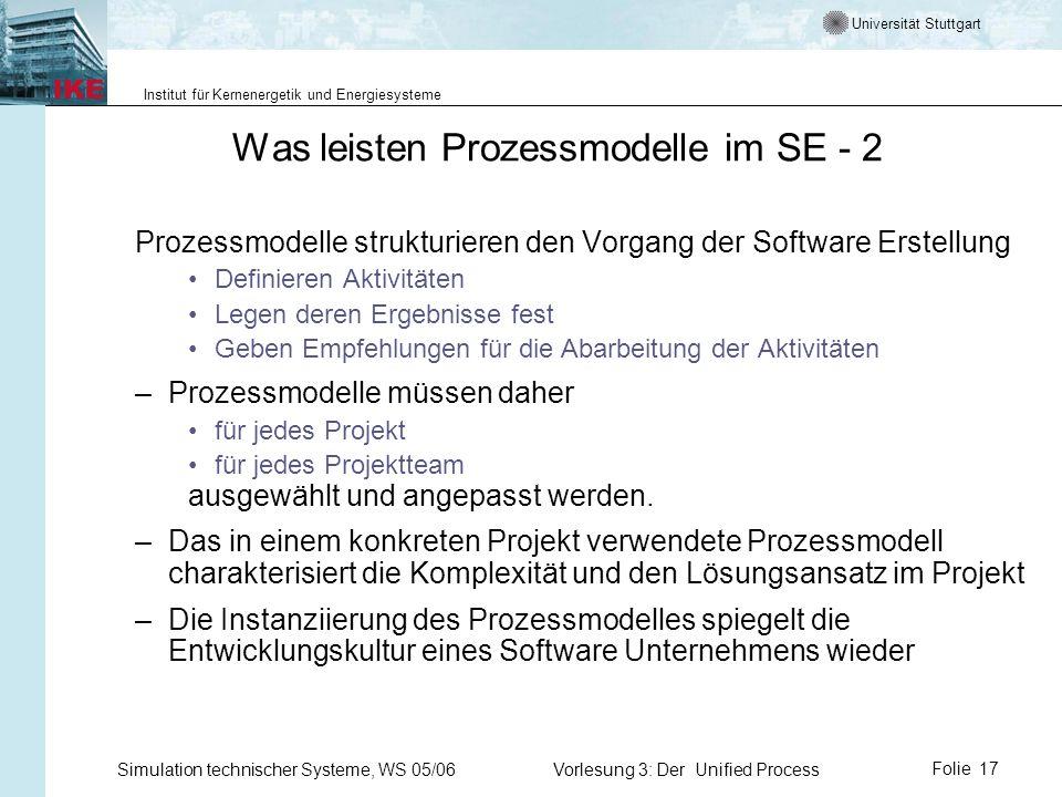 Was leisten Prozessmodelle im SE - 2