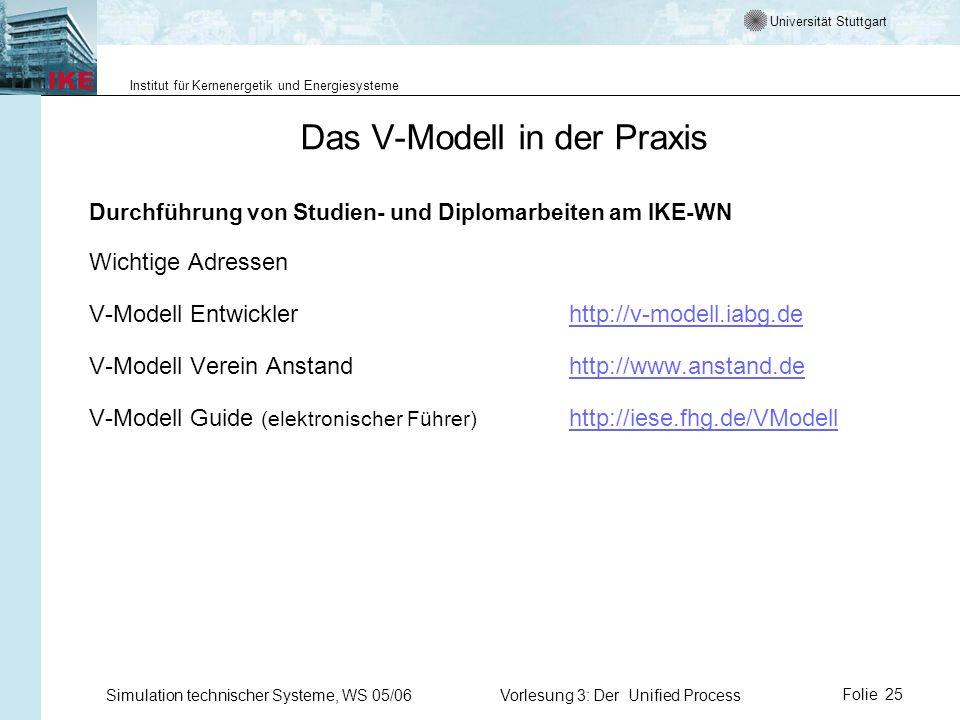 Das V-Modell in der Praxis