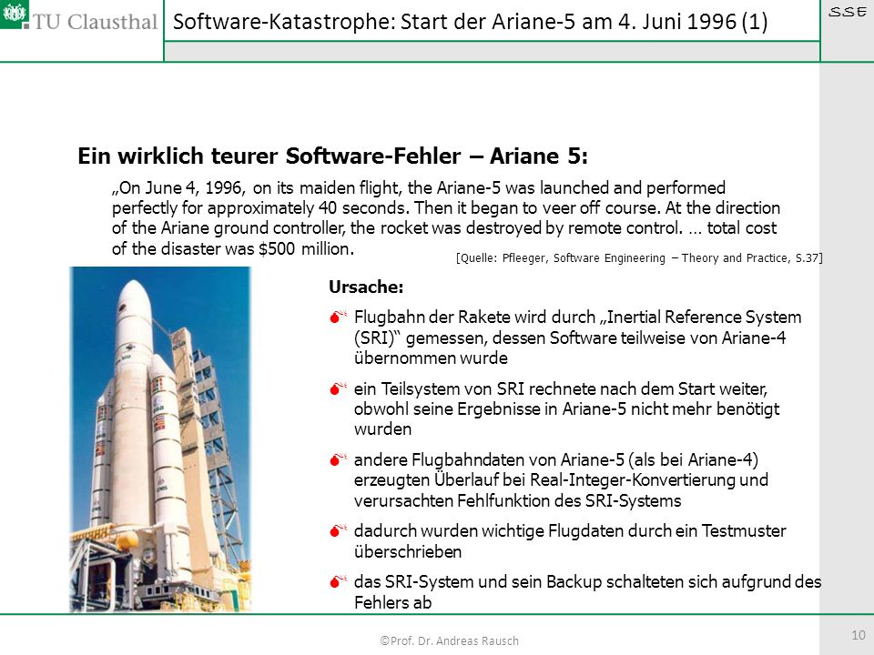 Software-Katastrophe: Start der Ariane-5 am 4. Juni 1996 (1)