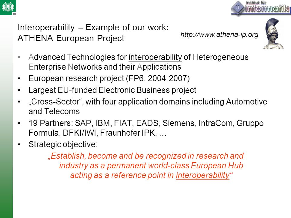 Interoperability – Example of our work: ATHENA European Project