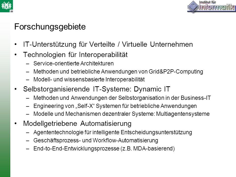 Forschungsgebiete IT-Unterstützung für Verteilte / Virtuelle Unternehmen. Technologien für Interoperabilität.