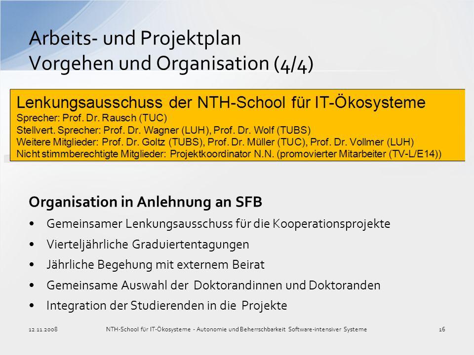 Arbeits- und Projektplan Vorgehen und Organisation (4/4)